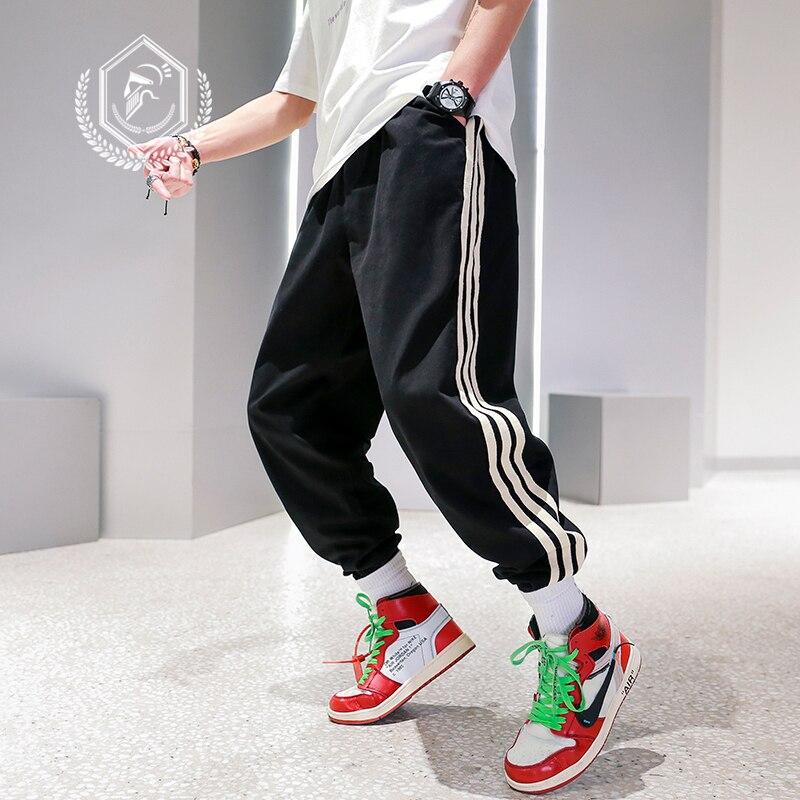 Men Loose Sport Stripe Pants Fashion Harem Jogger Pants Ankle-Length Hip Hop Pants