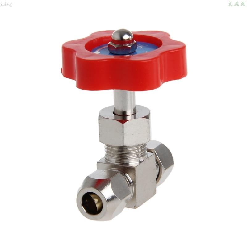 Durable Tube Nickel-Plated Brass Plug Needle Valve OD 6mm/8mm/10mm