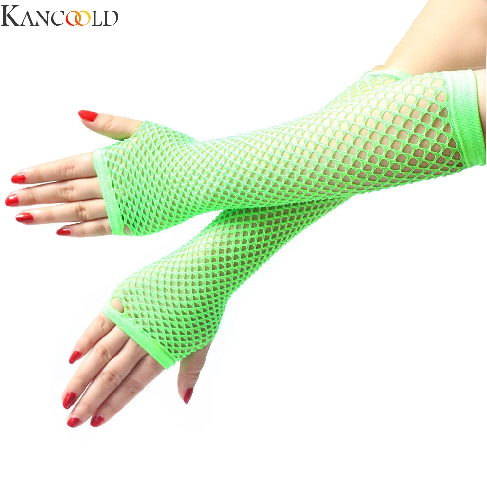 KANCOOLD Ladies Girls Neon Sexy Long Fingerless Fishnet Lace High Elasticity Gloves Sexy Dressy Lace Gloves Sunscreen Gloves