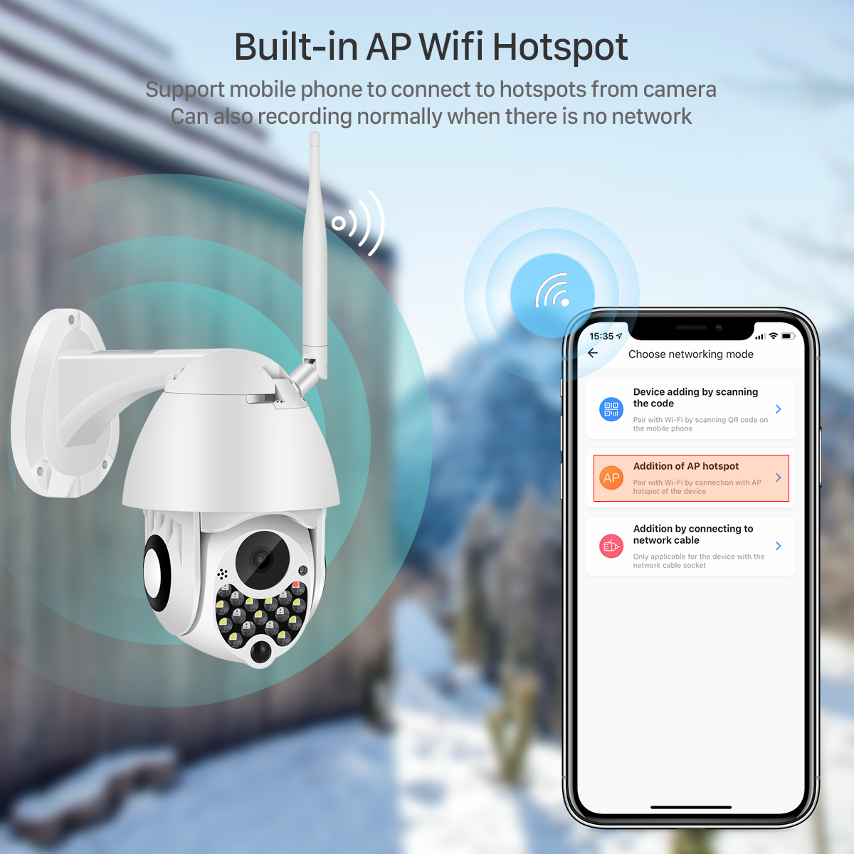 Hc6e3448dffc444ca9c54b5e299853da6H 1080P Outdoor Wifi PTZ Camera with Siren Light Auto Tracking Cloud Home Security IP Camera 2MP 4X Digital Zoom Speed Dome Camera