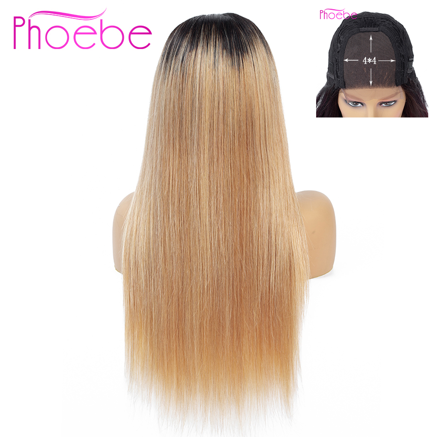 Phoebe Hair 4x4 Straight Lace Closure Wigs 8-26 Inch Peruvian 1B/27 Ombre Human Hair Wigs For Black Women Non-Remy 130% Density