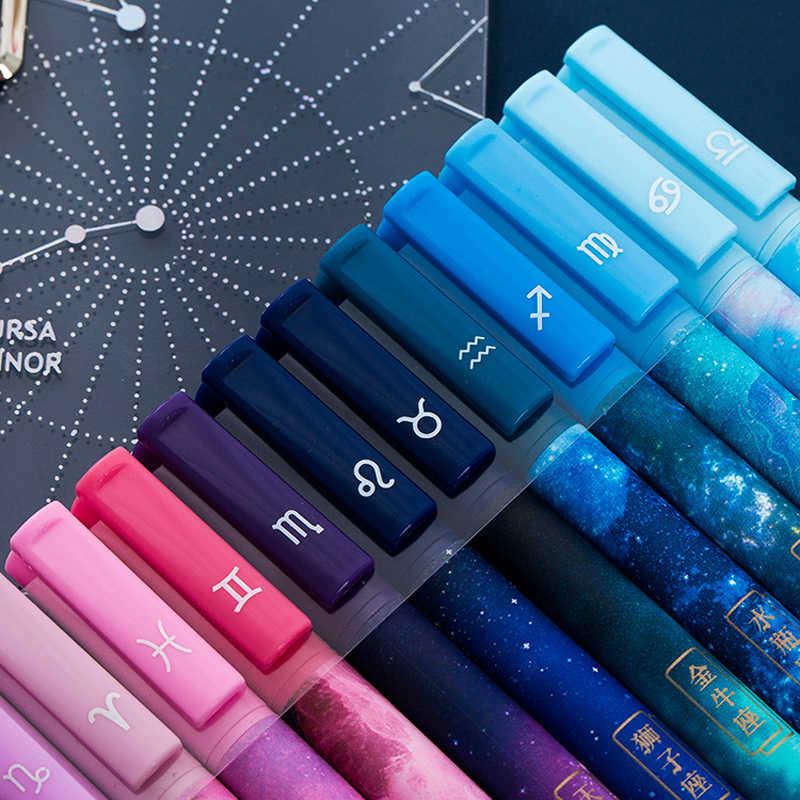 12 sztuk/pudło kreatywny konstelacji serii długopis żelowy Starry Sky uczeń biurowy pisanie długopisy czarne artykuły biurowe
