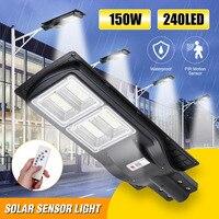Smuxi 150W Solar Straße Licht 240 LED Light Control + Radar Sensing + Fernbedienung Wasserdichte Outdoor Garten Zaun wand Timer Lampe
