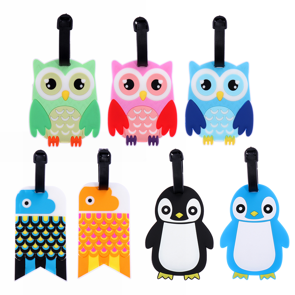 Cartoon Suitcase Luggage Pvc Tag Label Handbag Pendant Baggage Claim Travel Accessories ID Address Tag Holder Cute Owl Penguine