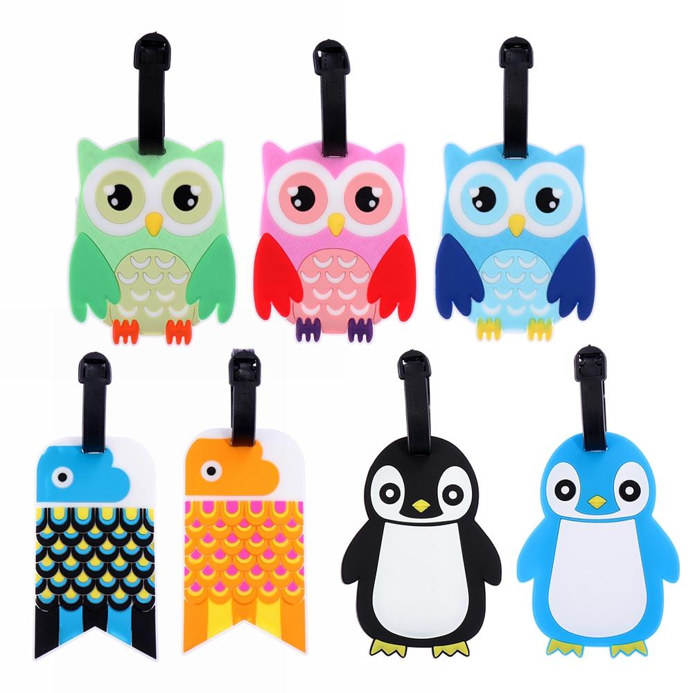Cartoon Suitcase Luggage Pvc Tag Label Handbag Pendant Baggage Claim Travel Accessories ID Address Tag Holder Cute Owl Penguine