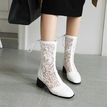 ZawsThia 2020 summer spring white black woman boots chunky high heels lace hallow cut out women mid-calf boots big size 45 46 47(China)