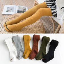 Spring and autumn children's alpaca vertical pattern slim pantyhose cotton vertical stripe girls tight leggings(China)
