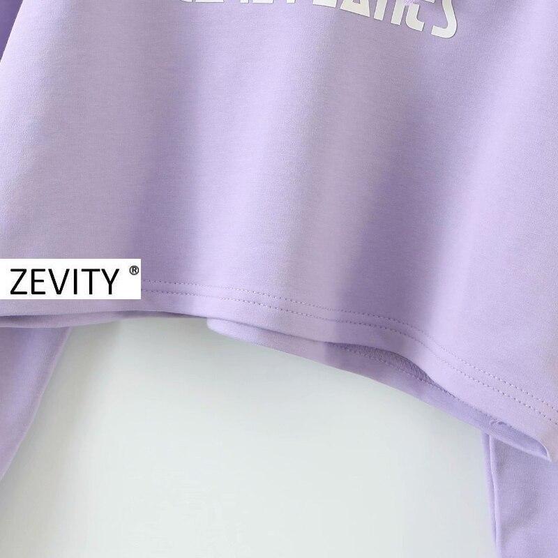 Zevity New Women fashion mesh stitching casual short hooded sweatshirts ladies letters print leisure crop hoodies chic tops S350 5