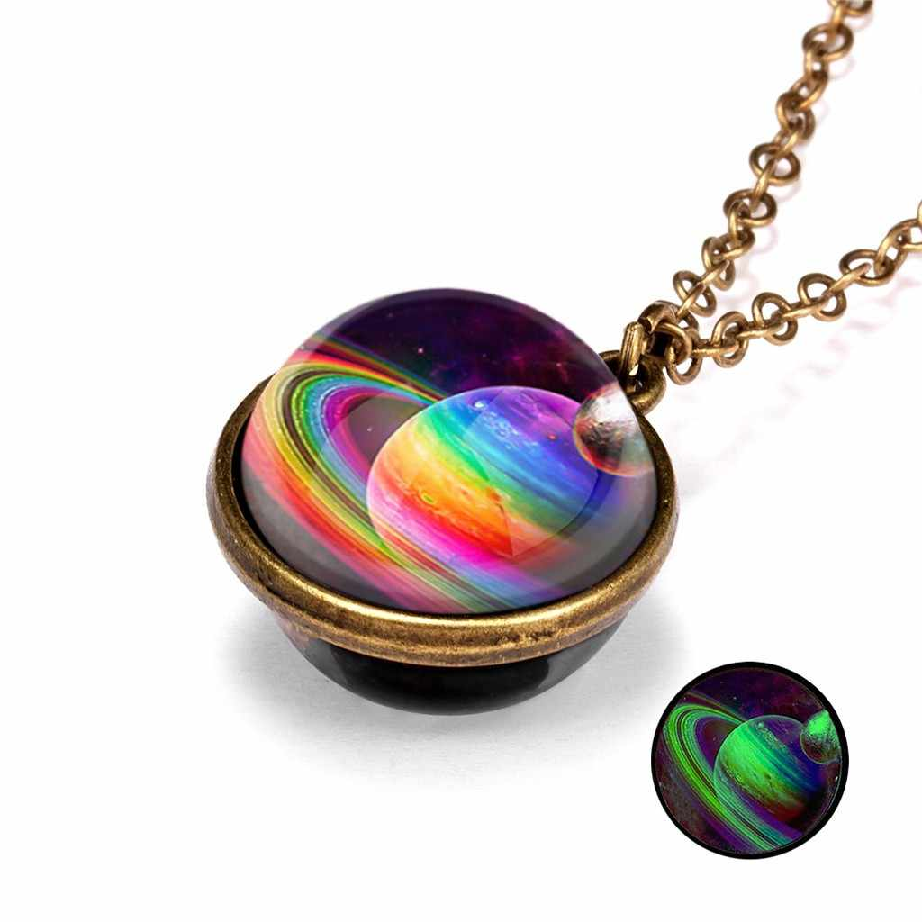 Susenstone Glow In The Dark Galaxy System Double Sided Glass Dome Planet Necklace Pendant Party Prom Gift Necklace Women gift#Q