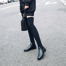 ファッションの女性のオーバー膝弾性ブーツ子供にスリップ正方形のかかと防水冬の女性のオートバイの靴サイズ 34 40