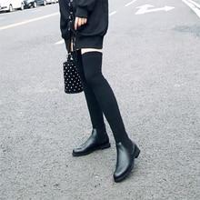 Moda kadın üstü diz elastik çizmeler çocuk süet kayma kare topuklu su geçirmez kış bayanlar motosiklet ayakkabı boyutu 34 40