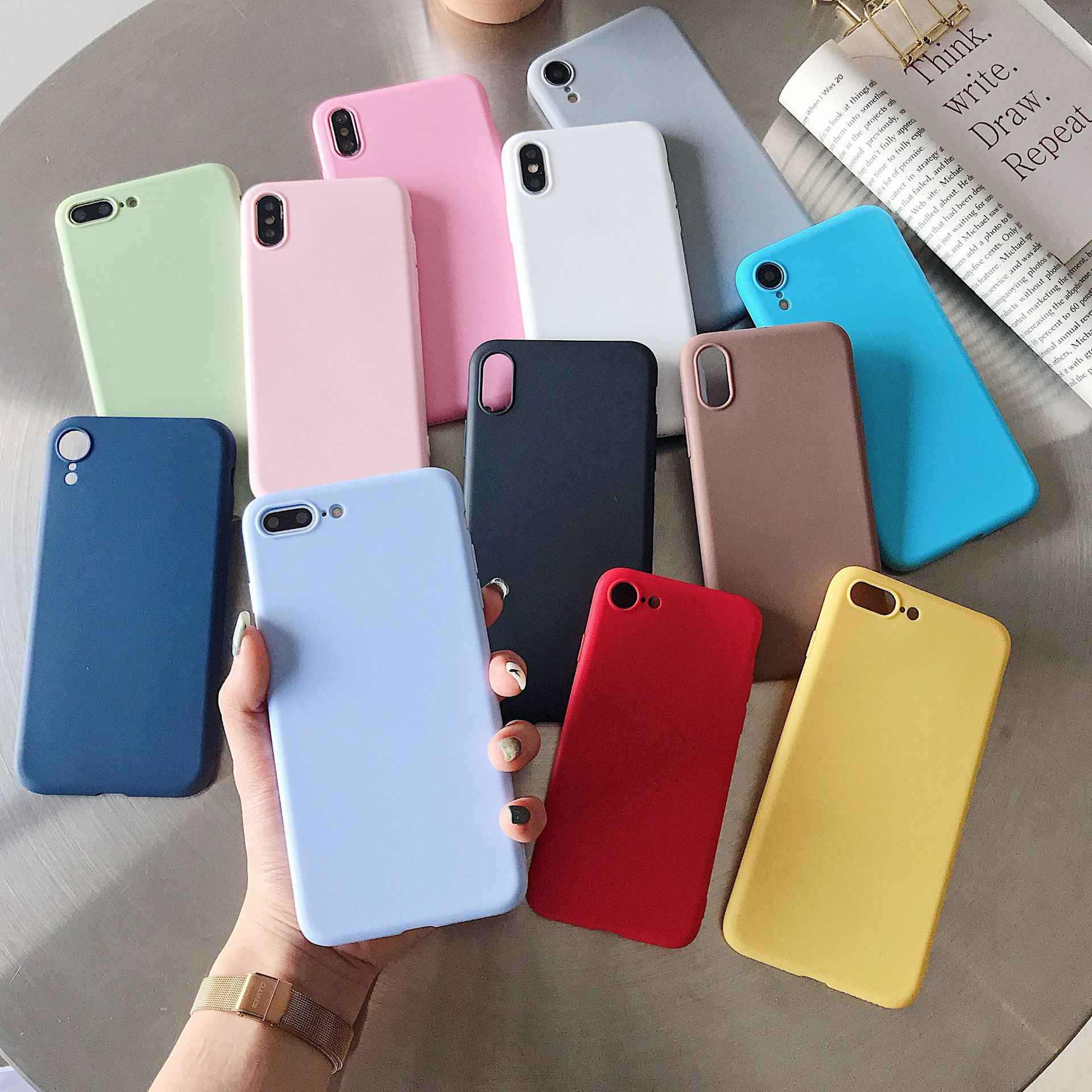 Candy Color Case for iPhone 6 6S 7 8 Plus 5 5S SE Fashion Simple TPU Soft Silicone Cover on for iPhone X XR XS MAX Case Coque