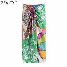 Zevity mulheres vintage pano retalhos floral impressão atada sarong saia faldas mujer feminino voltar zíper chique magro vestidos qun790