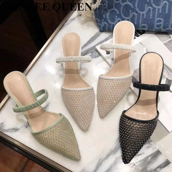 Elegant Women Slippers Slides Ladies Fashion Mesh Mules Shoes Pointed Toe High Heels Sandals Rhinestone Party Casual Dress Mujer 2020 luxury slides women high heels mules fetish summer sandals low heels slippers prom platform stripper blue fashion shoes