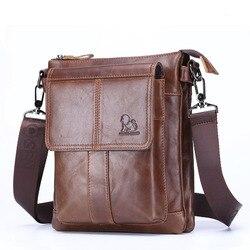 Брендовая простая дизайнерская сумка-мессенджер для мужчин, Повседневная модная деловая сумка на одно плечо из натуральной кожи, слинг чер...