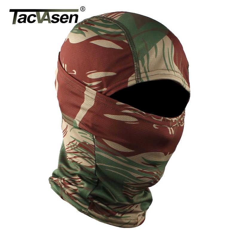 TACVASEN kamuflaj askeri taktik Balaclava Hood Ninja motosiklet avı kask astar Headwears tam yüz maskeleri Airsoft Gears