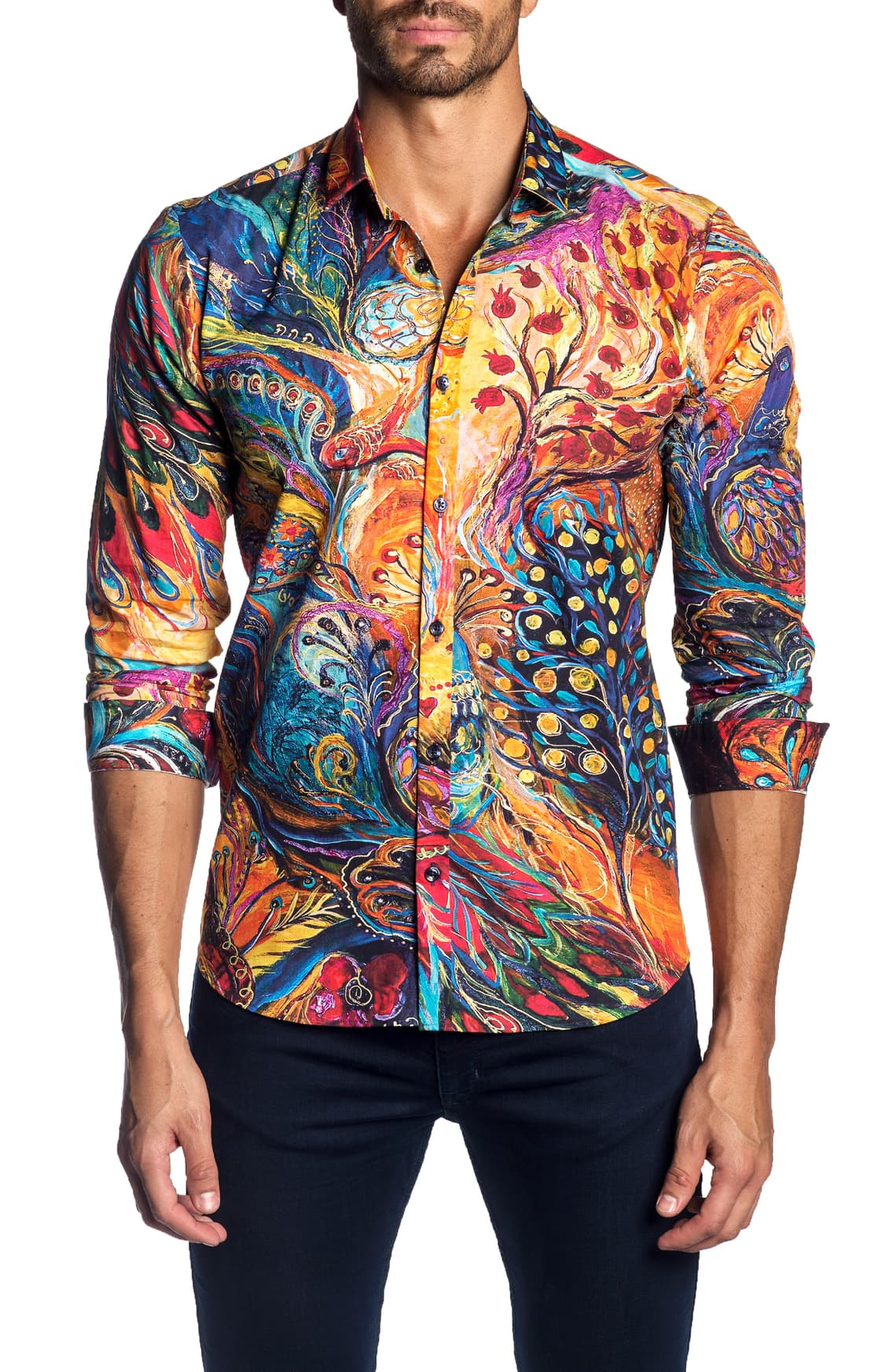 Good Quality 3d-print Hip Hop Dress Shirts Men 2019 New Chemise Homme Manche Longue Colorful Print Mens Shirts Casual Slim Fit