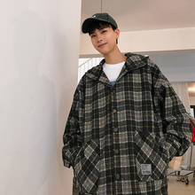 Mens trench coat new fall 2019 slim plaid print hoodie loose casual lapels individuality youth mens wear