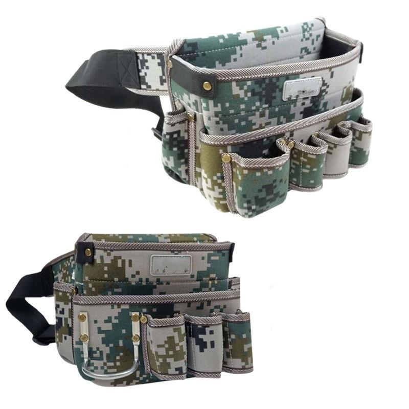Oxford Cloth Waterproof Tool Storage Bag Waist Pack For Screwdriver Nuts Drill Scissors Repair Toolkit Pockets Tool Organizer