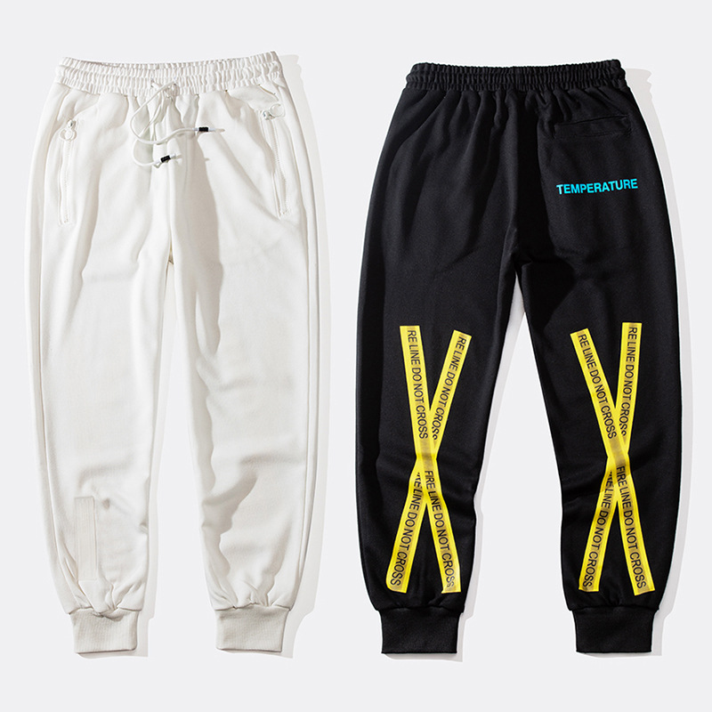 2018 Spring And Autumn New Style Men And Women Couple Clothes Trousers Off Ow White Cordon Yellow Adhesive Tape Beam