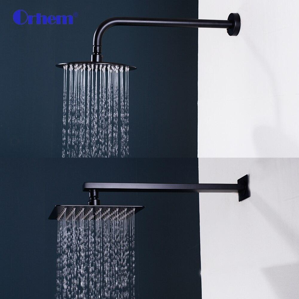 40 cm de aço inoxidável preto chrome quadrado na parede montado chuva chuveiro braço para chuveiro Accessories-25119-SUS