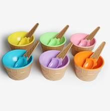 1 pçs crianças tigelas de sorvete com colher de sorvete em forma de copo salada de frutas sobremesa tigela bol plastique crianças bonito tigelas de sorvete