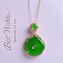 Натуральный Подвеска из зеленого халцедона модные ювелирные