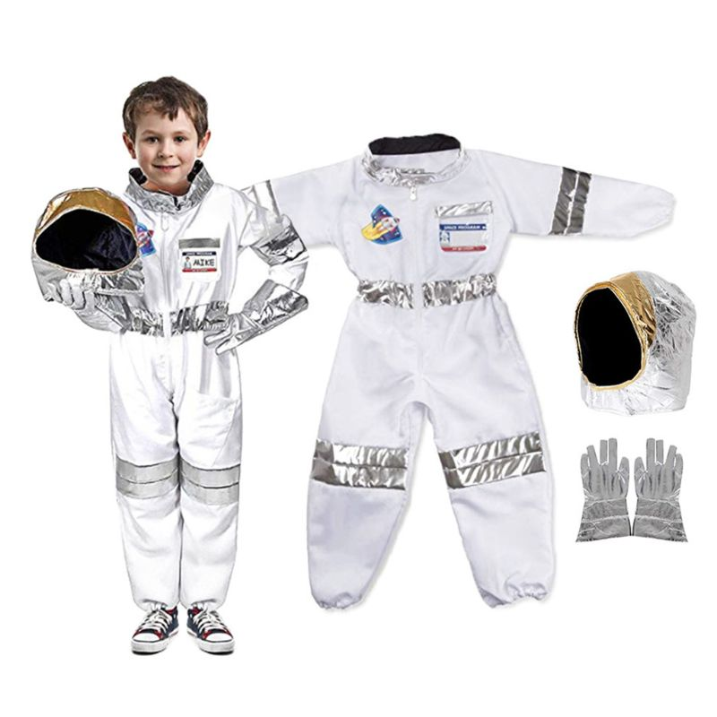 Toddler Kids Astronaut Costume Jumpsuit Space Pretend Play Outfit With Hat Glove High Quality And Brand New