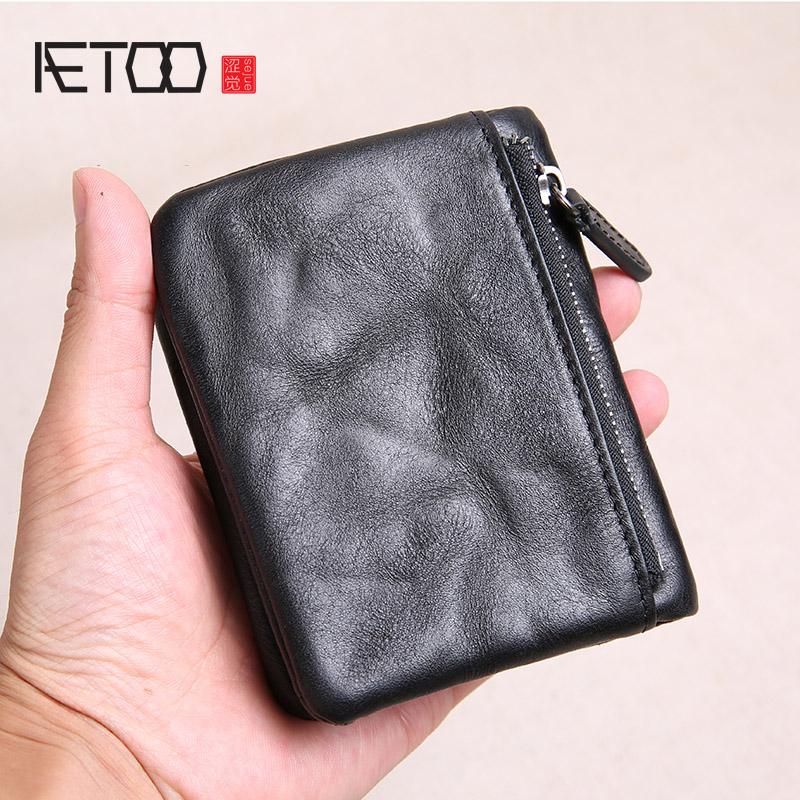 AETOO Men's short leather literary trend wallet, hand-made retro old small wallet, head leather student ticket clip image