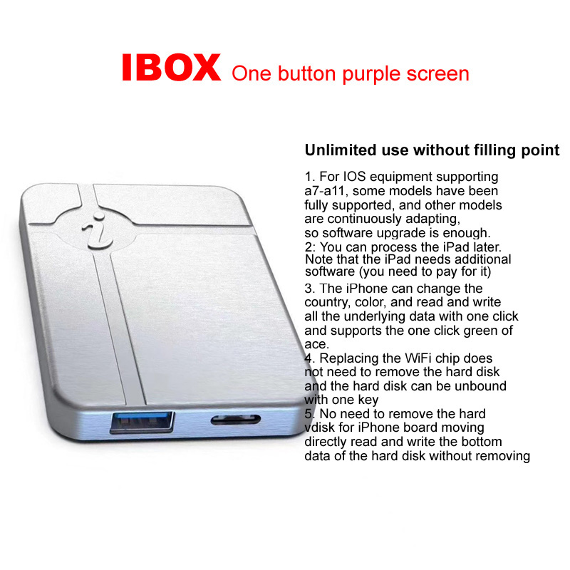 IBox No Disassembly Required HDD Reading Writing Change Serial Number For IPHONE A7 A8 A9 A10 A11 Programming Same DFU BOX