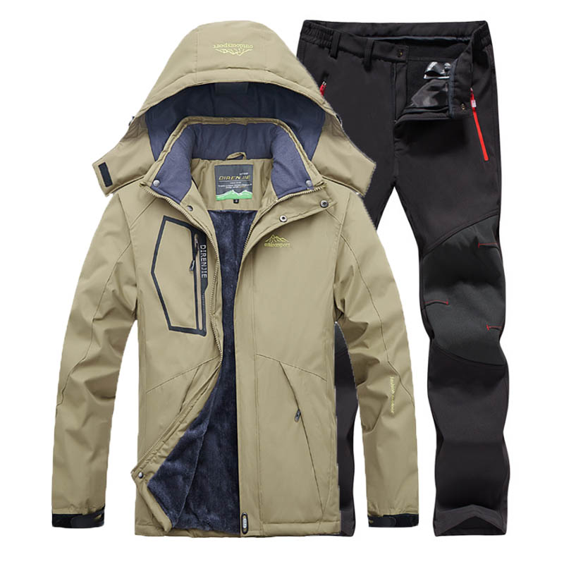 Men Fleece Outdoor Jacket Softshell Trousers Suit 5XL Camping Trekking Hiking Climbing Skiing Fishing Winter Waterproof Pants