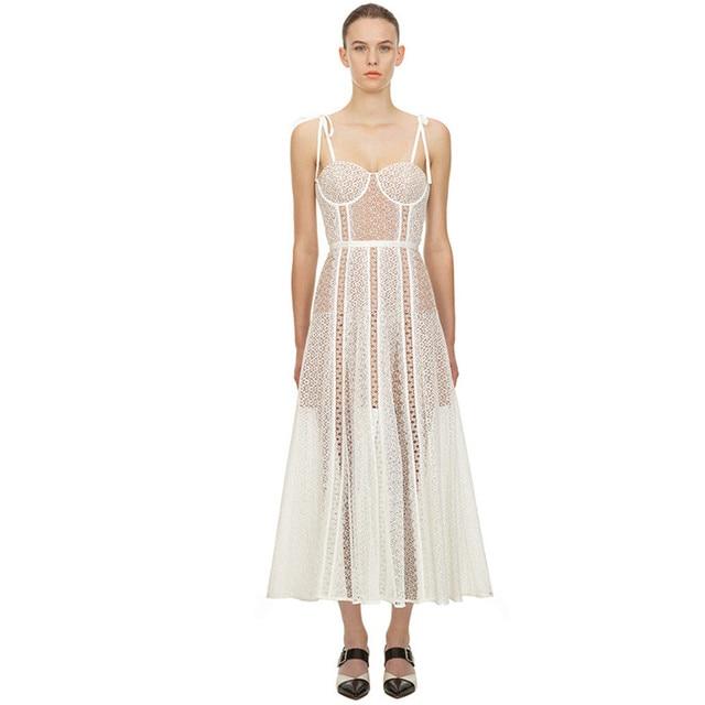 Fleepmart New 2020 Fashion Runway Summer Vacation Dress Women Sexy Spaghetti Strap Lace Party Dresses