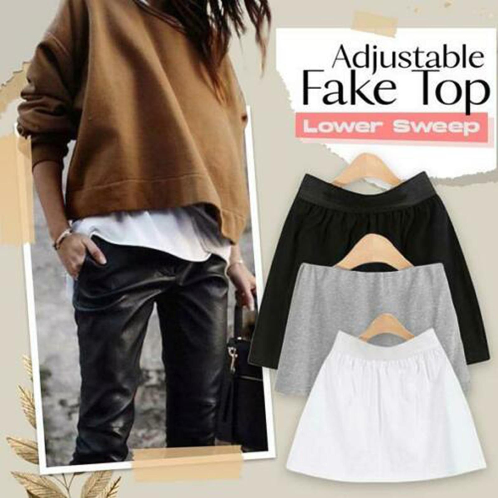 High Waist Skirt Adjustable Layering Fake Top Lower Sweep Set Skirt Half-length Splitting A Version Women Casual Skirts 1