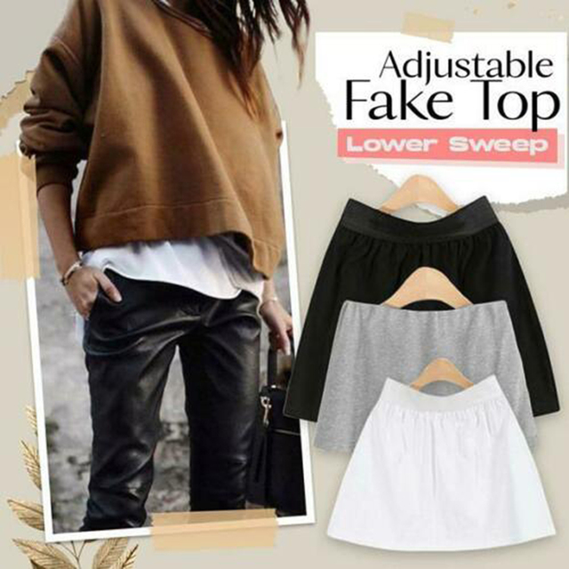 High Waist Skirt Adjustable Layering Fake Top Lower Sweep Set Skirt Half-length Splitting A Version Women Casual Skirts 1
