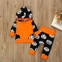 Newly Cosplay Halloween Toddler Baby Kid Pumpkin Print  Long Sleeve Romper Jumpsuits Tops+Hats Clothes 3PCS Costume 9.15