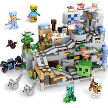 The Mountain Cave SE Set Building Blocks With Steve Action Figures Compatible My World MinecraftINGlys Sets Toys For Children