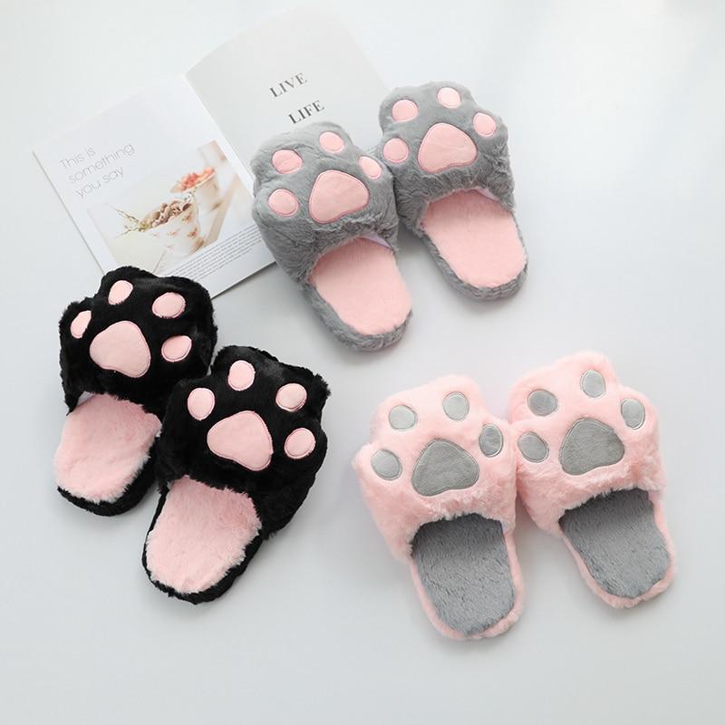 Kawaii Cat Paw Plush Slippers  1