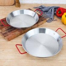 Антипригарная сковорода из нержавеющей стали 20 30 см, испанская сковорода для морепродуктов, сковорода для сыра Wok, контейнер для еды и фруктов