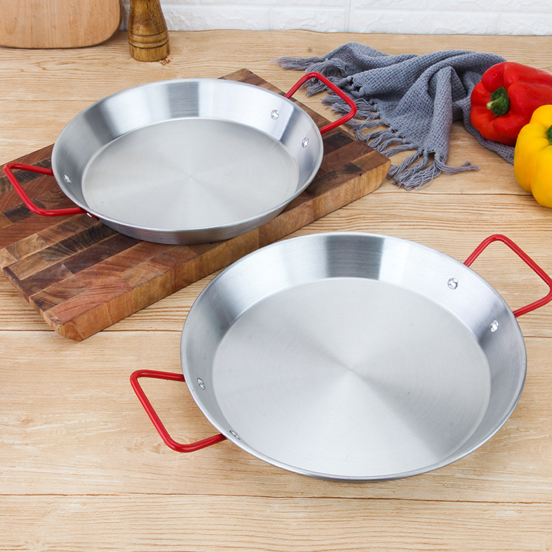 20-30cm Thickened Stainless Steel Non-stick Paella Pan Spanish Seafood Frying Pot Cheese Rice Cooker Food Fruit Plate Container