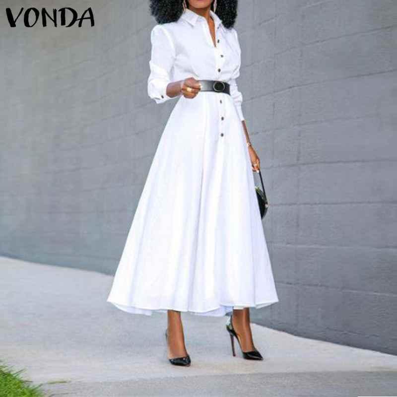 Vonda Vrouwen Jurk Vintage Revers Hals Lange Shirt Jurk Dames Kantoor Zonnejurk 2020 Lente Zomer Split Party Vestido Plus Size