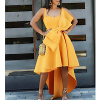 Women's Irregular Yellow Occassion Dresses Flare Pleated Party with Bow tie Celebrate Ladies Dated Night Dinner Event Dresses