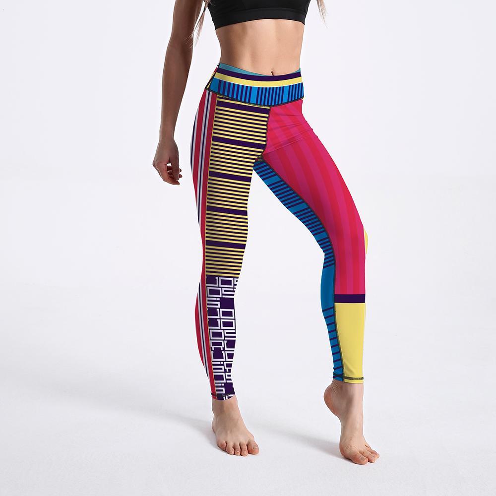 New Fashion Colorful Splice Pattern Digital Printing Sportswear Fitness Leggings Workout High Waist Outdoor Skinny Leggings