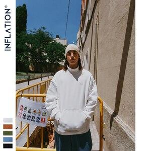Image 2 - אינפלציה בסיסי גברים גבוהה צווארון סווטשירט טהור צבע גברים של סווטשירט עם פאוץ כיס Loose Fit Mens סתיו סווטשירט 9620W