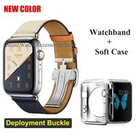 Per Apple Watch 6 5 4 3 2 1 SE cinturino in pelle con fibbia a singolo giro per cinturino iWatch 44/40/42/38mm
