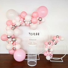 103pcs Pastel Pink Latex Balloons Garland Arch Kit White Silver For Wedding Engagement Decoration Birthday Baby Shower