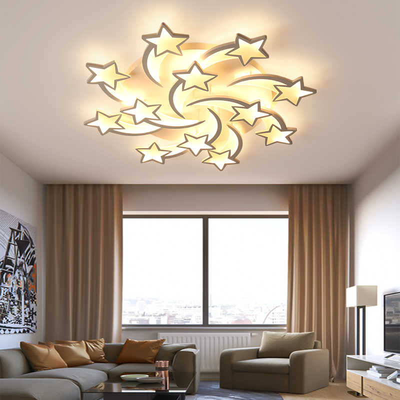 LED Lustre étoiles modernes lustres de plafond éclairage pour salon chambre cuisine enfants avec télécommande Lustre