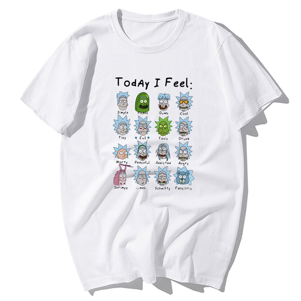 Funny Rick And Morty T Shirt Today I Feel Cool T-shirts Men's High Quality 100% Cotton Short Sleeve Hip Hop Harajuku Tshirt Tops