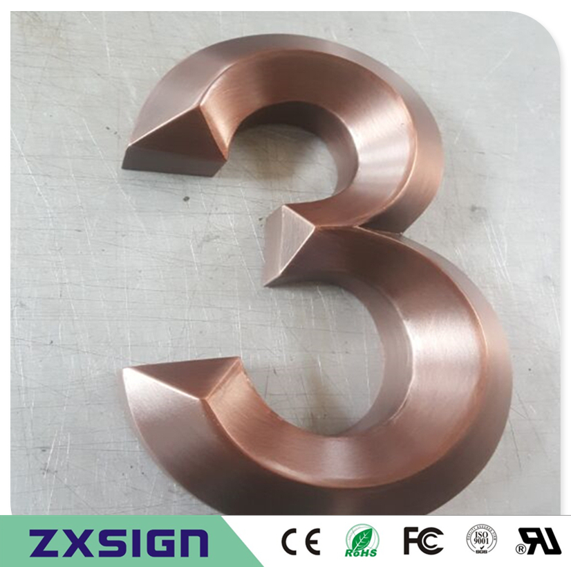 Factory Outlet Outdoor 3D Gold Color Stainless Steel Logo, Red Copper Color 3D Sign, 3D Metal Company Logo, Business Shop Signs