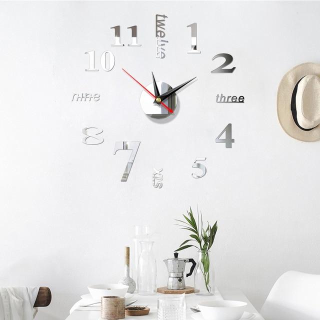 Qianyun Wall Clock Modern Design Living Room Decor Home Decoration Self Adhesive Diy Large Acrylic Wall Clock Wall Art Wall Clocks Aliexpress