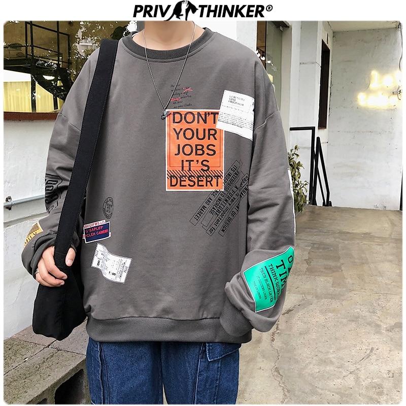 Privathinker Korean Patchwork O-Neck Pullovers Mens Sweatshirts 2019 Autumn Streetwear Print Male Hoodie Long Sleeve Men Clothes
